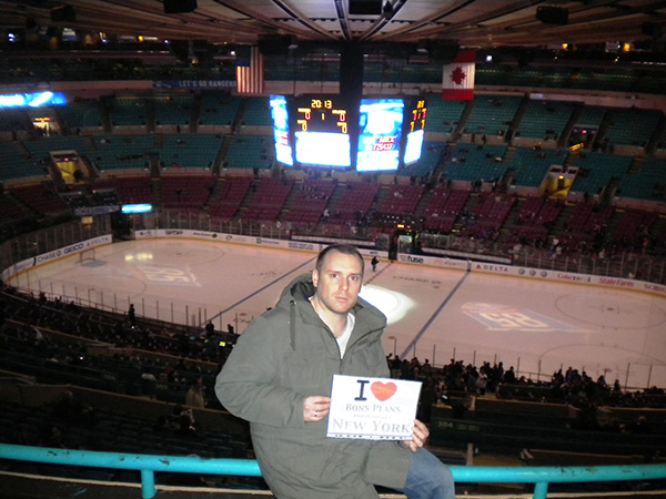Cène au Madison Square Garden avec la glace des NY Rangers derrière !!! - Avril 2011