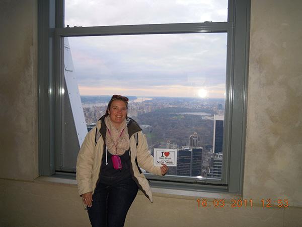 Sandrine avec la vue sur Central Park - Mars 2011
