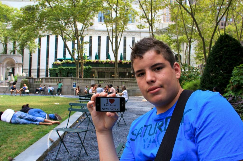 Bastien à Bryant Park - Août 2011