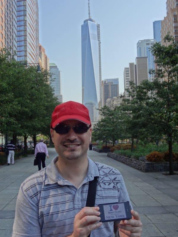 Seb pour un petit souvenir de West Thames Park avec une magnifique vue sur le One World Trade Center - Juin 2013