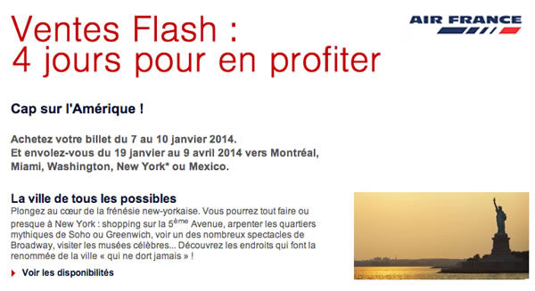 promos ventes flash air france new york