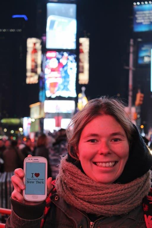 Dédicace de Sophie à Time Square :)