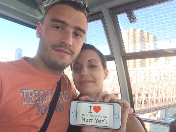 Dédicace de William et Clémence dans le téléphérique de Roosevelt Island