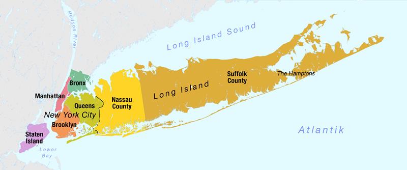 Carte Long Island Hamptons