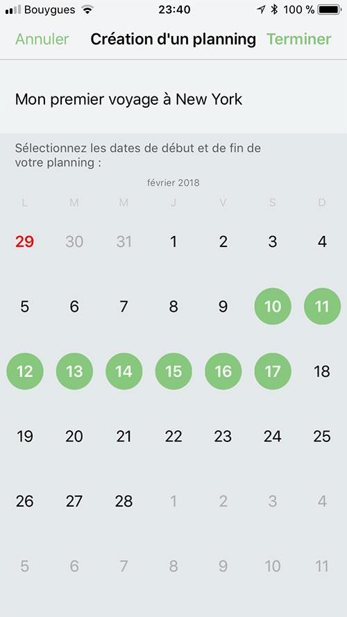 Appli- Planning dates