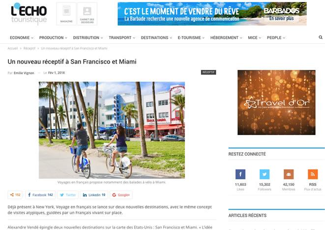 L'Echo Touristique miami san francisco voyage en francais new york bordelais blogueur alexandre vende fevrier 2018