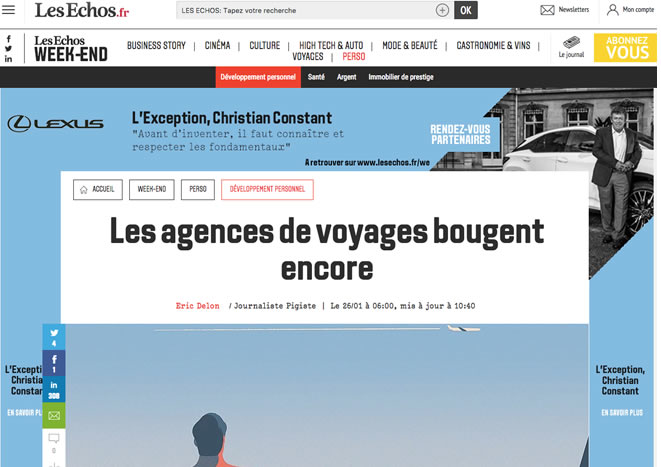Les Echos Les agences de voyages bougent encore voyage en francais new york bordelais blogueur alexandre vende fevrier 2018