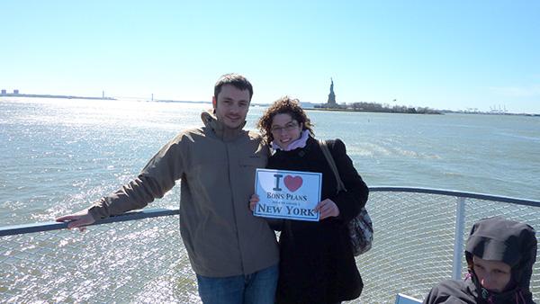 Guillaume et Céline sur le Ferry Statue Liberté-Ellis Island - Mars 2011