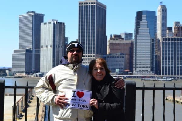 Caroline et Sébastien sur Brooklyn Heights Promenade - Mars 2011