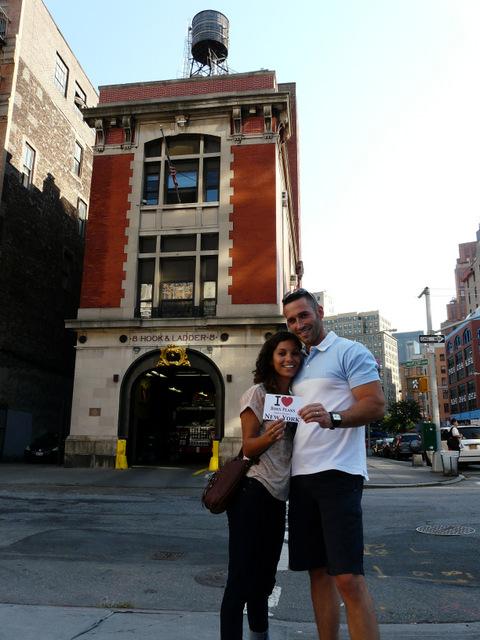 Marion & Christophe devant la caserne Hook & Ladder 8 à Tribeca où a été tourné le film Ghostbusters - Septembre 2012