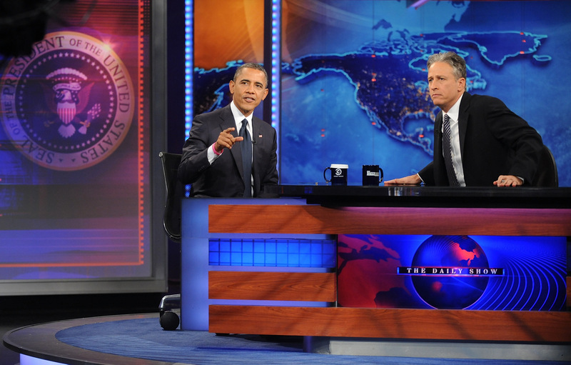 "NEW YORK, NY - OCTOBER 18: U.S President Barack Obama(L) and Jon Stewart attend ""The Daily Show"" with Jon Stewart at Ensemble Studio Theatre on October 18, 2012 in New York City, New York (Photo by Brad Barket/PictureGroup)"