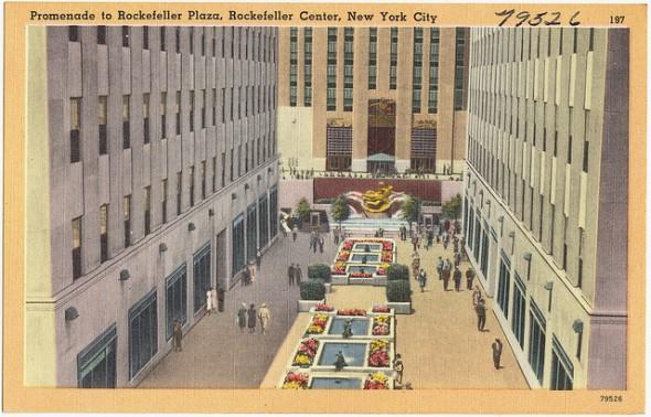 La Rockefeller Plaza en image dans les années 1940