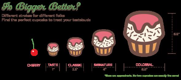 Taille des différents cupcakes