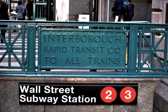 Entrée de la Bouche de Métro de Wall Street - Novembre 2012