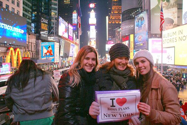 Coco et ses deux filles à Times Square - Décembre 2012