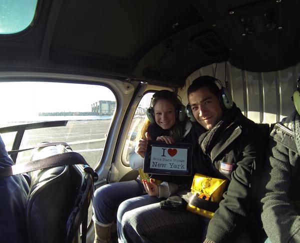 Elo & Schems dans le Liberty Helicopter Tour avant de survoler Big Apple - Décembre 2013