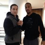 Kévin et Eric Maynor, joueur NBA des Wasington Wizards croisé par hasard au NikeTown.
