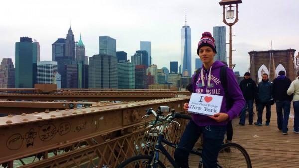 Dédicace de Smain sur le Brooklyn Bridge - Janvier 2014