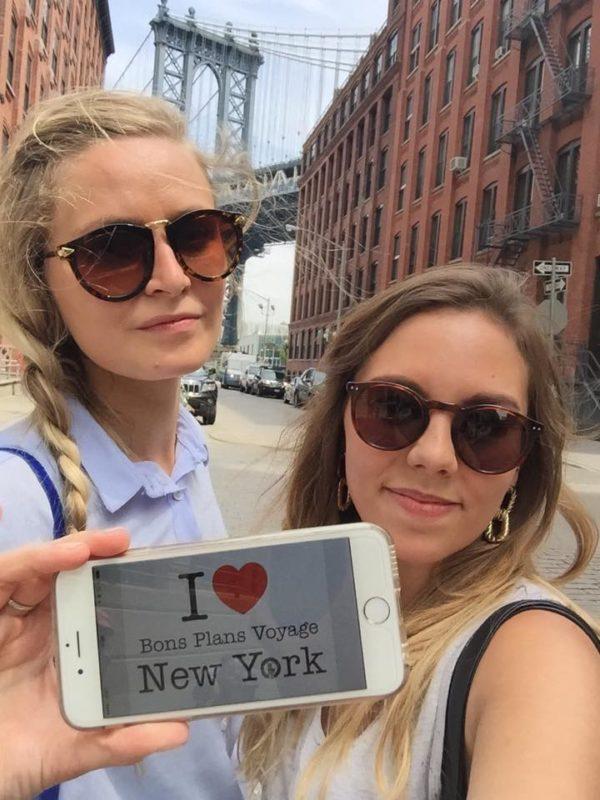 Superbe dédicace de Kylbil et sa copine ici à DUMBO avec le Manhattan Bridge derrière elles - Juin 2015