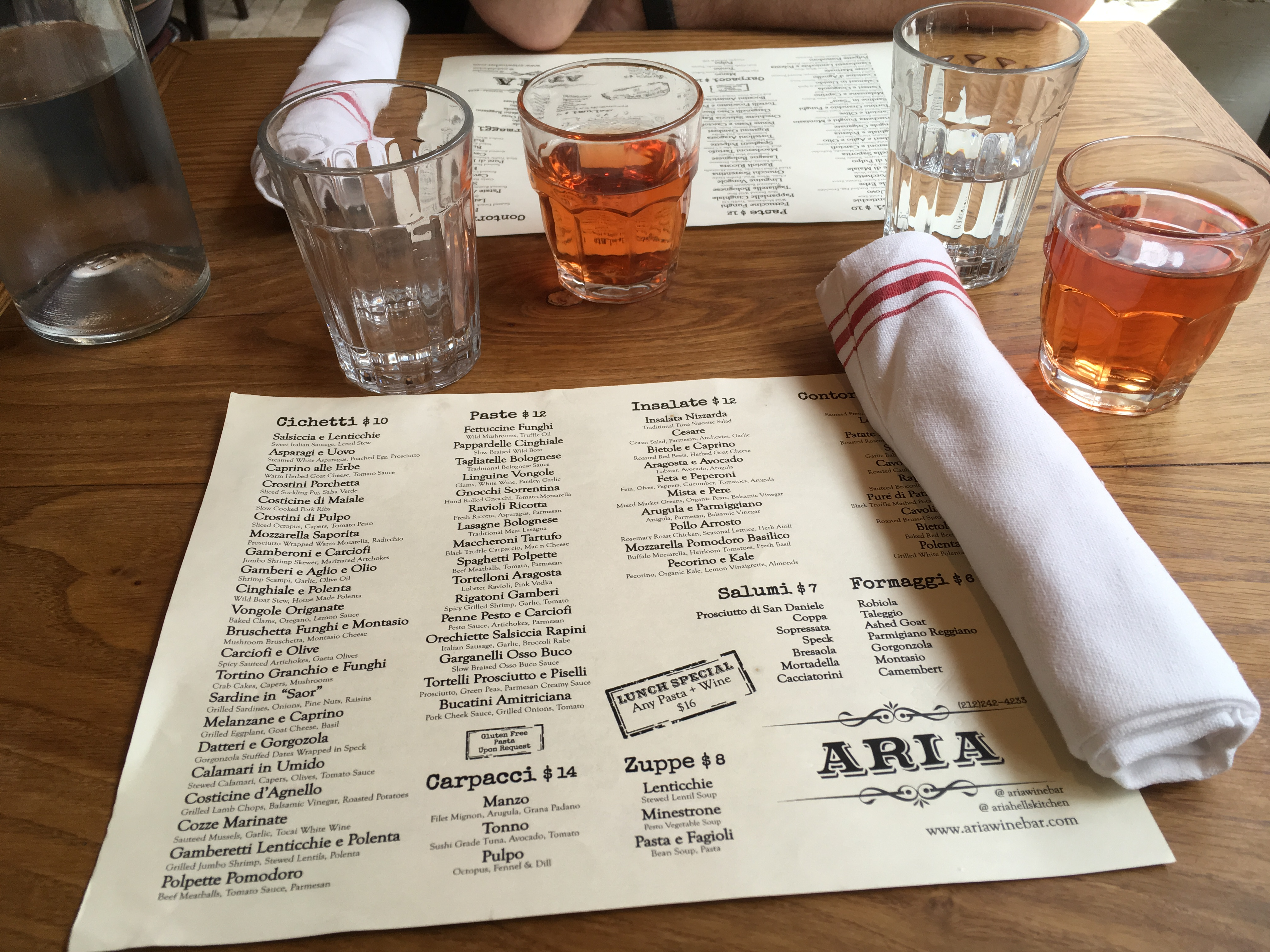 Aria Wine Bar Un Petit Restaurant Italien De West Village A La